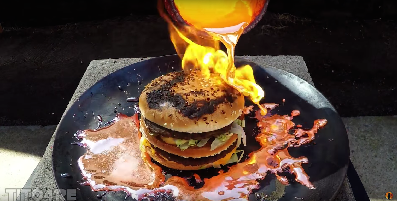 Molten Copper Poured Over Big Mac
