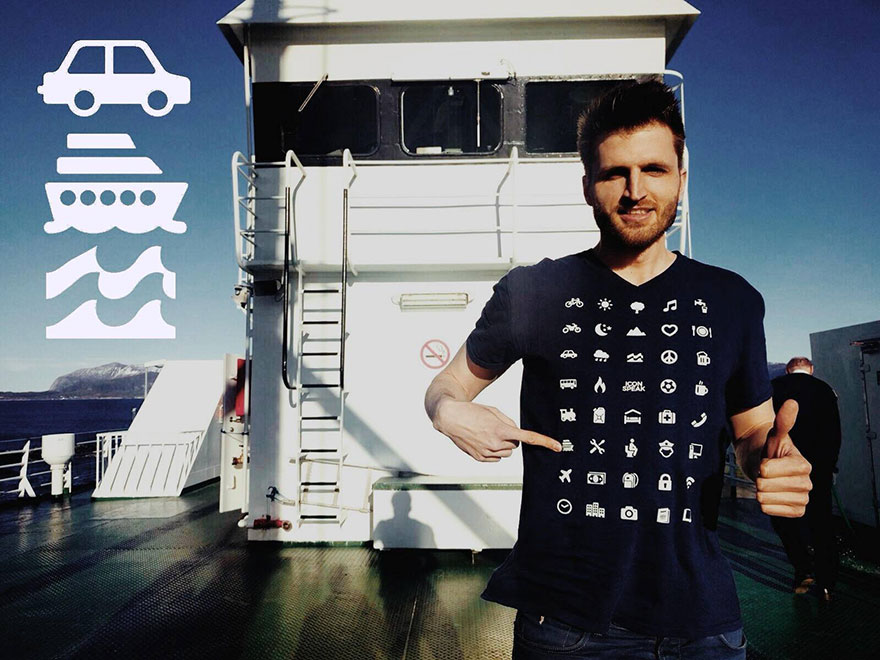 Travel Shirt with 40 Icons to Communicate Without Speaking - Icon Speak