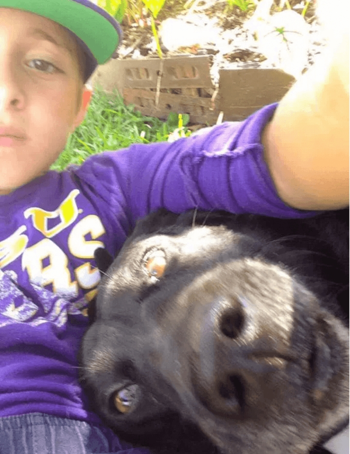 Josh with the neighbors dog