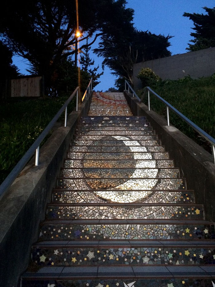 glowing 16th avenue tiled-steps san francisco night view