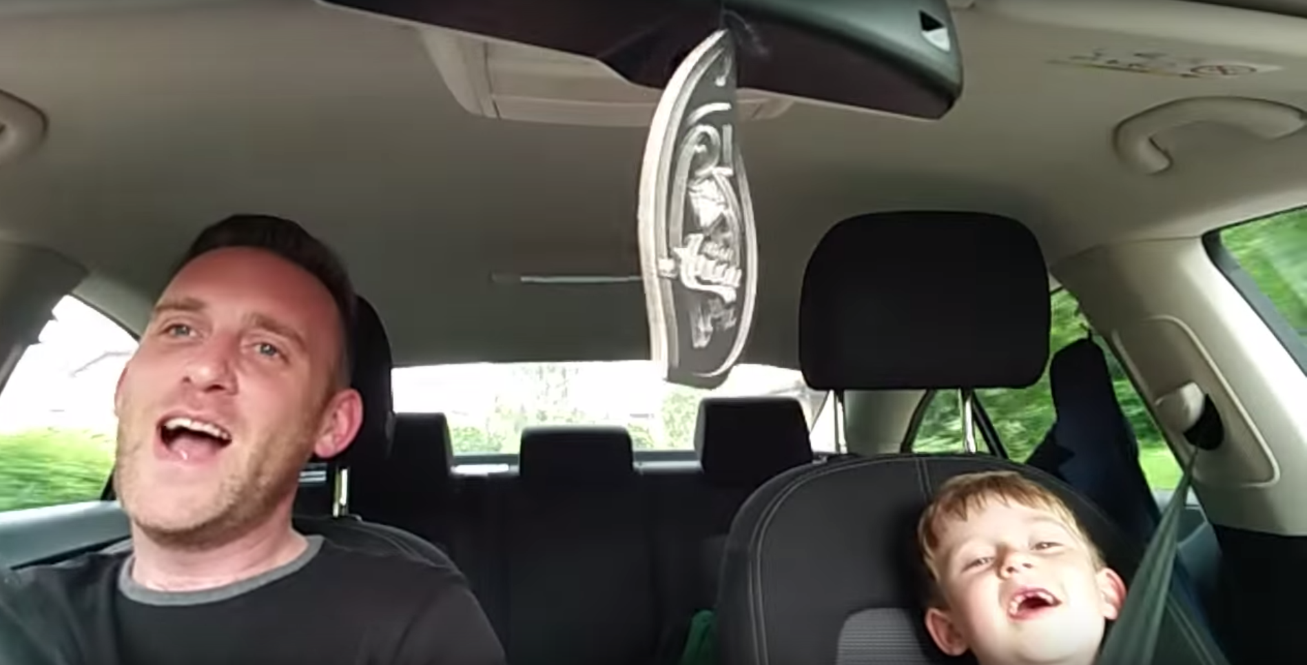 Most adorable duet of Dad and Son singing Frank Sinatra In Car