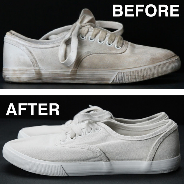 use baking soda to whiten your canvas shoes
