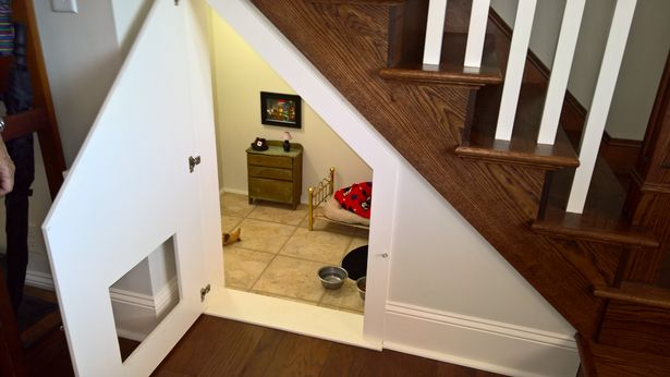 This luxurious understair space was designed for a pampered Chihuahua