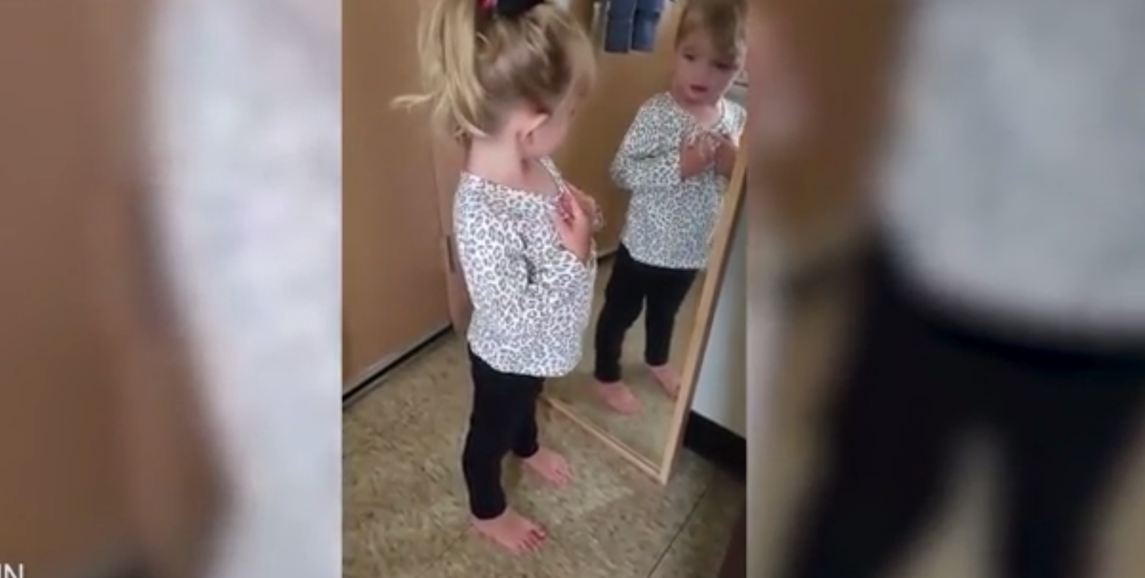 Little Girl's Prep talk in the morning in front of mirror will boost your confidence