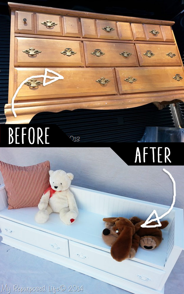 Repurposed-Dresser-Bench | DIY Furniture Hacks