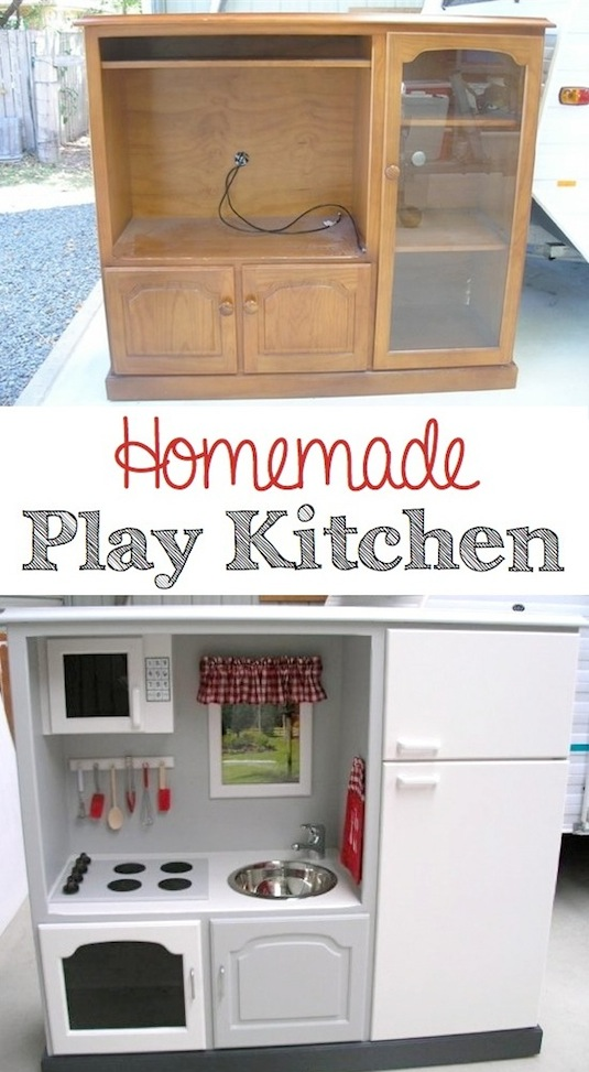 Old TV Turned Into A Play Kitchen