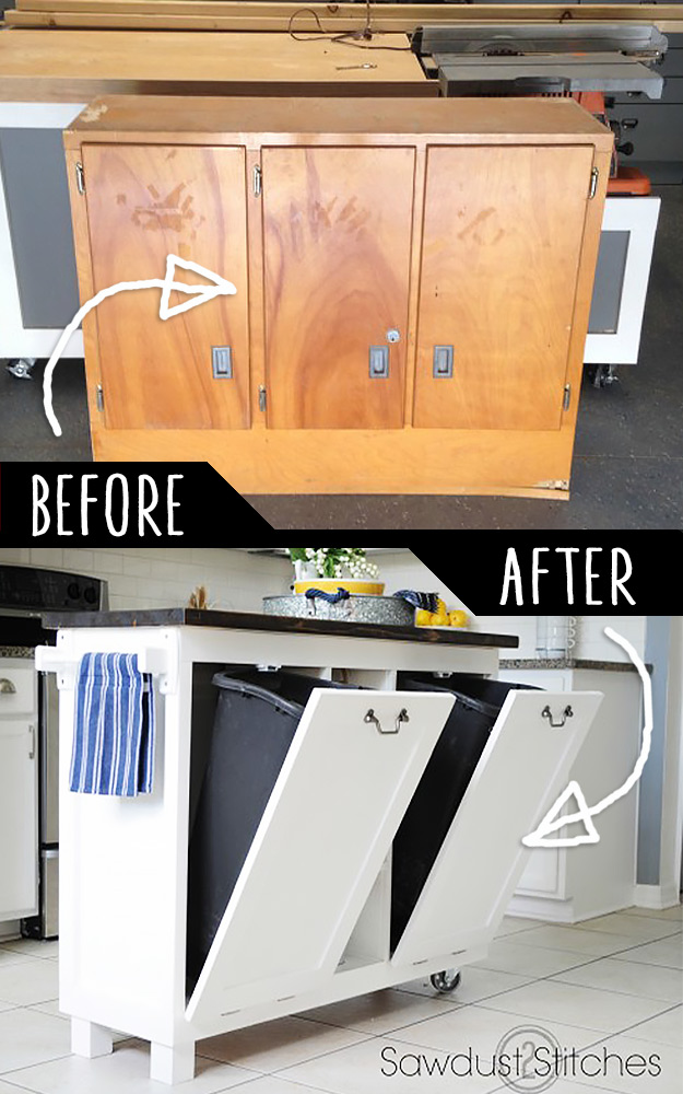 Tutorial To Turn An Old Cabinet into Kitchen Island