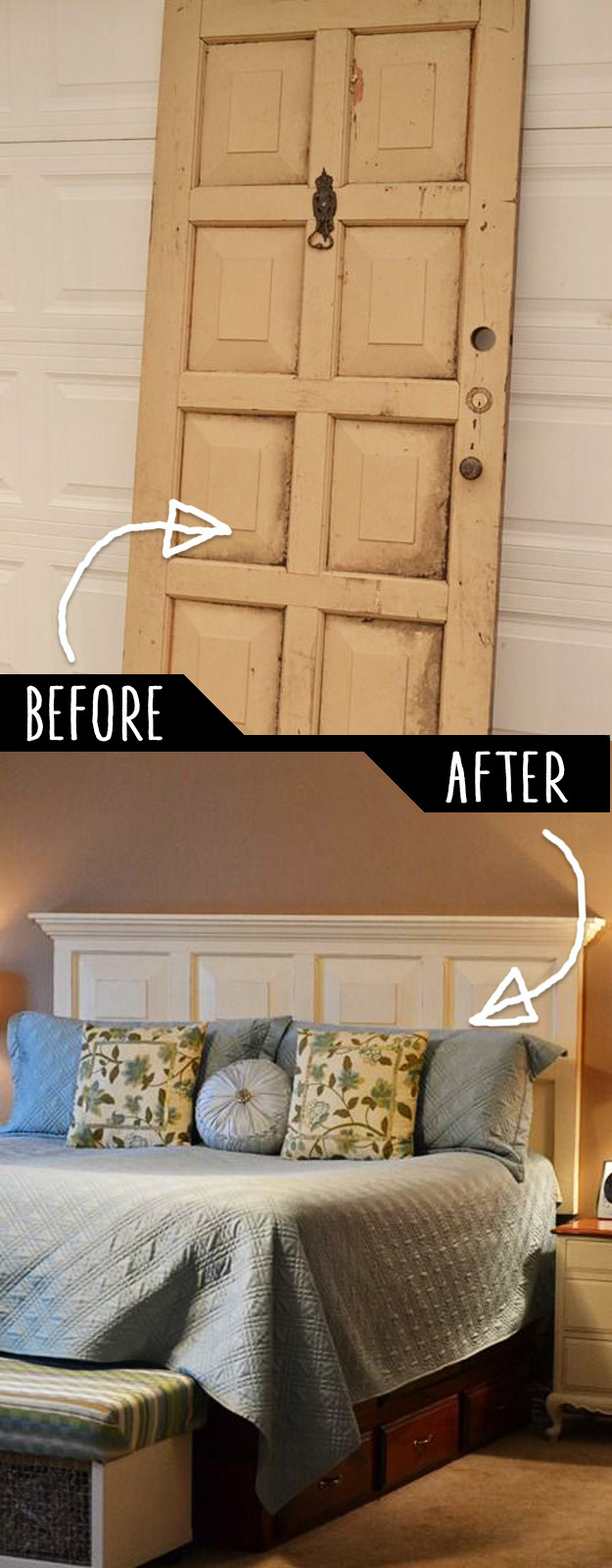 Making A Bed Headboard From Old Door | DIY Tutorial