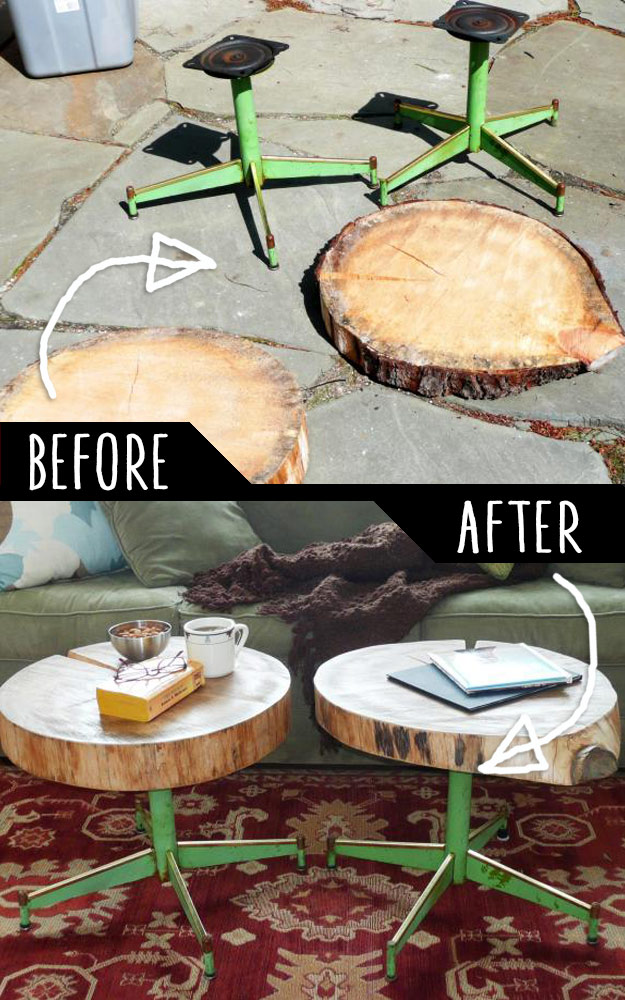 Accent Tables Using Rough Cut Logs and Old Metal Chair Legs