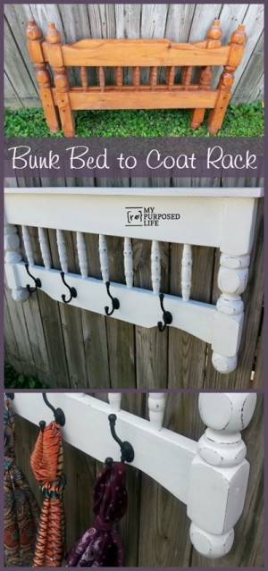 Bunk bed to coat rack awesome hack