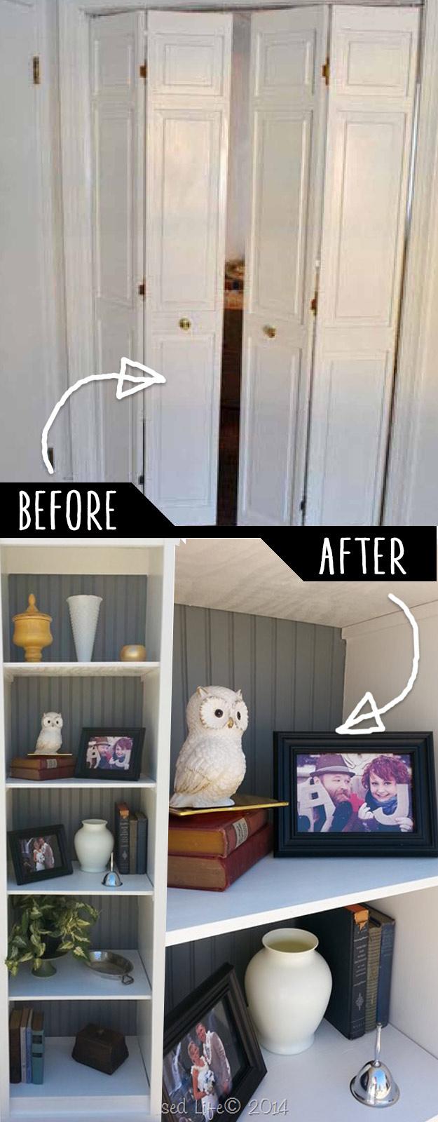 Bi Fold Closet Door Bookshelf