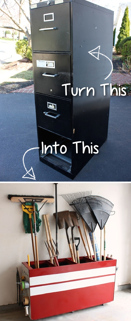 Turn Your Old File Cabinet Into Garage Storage