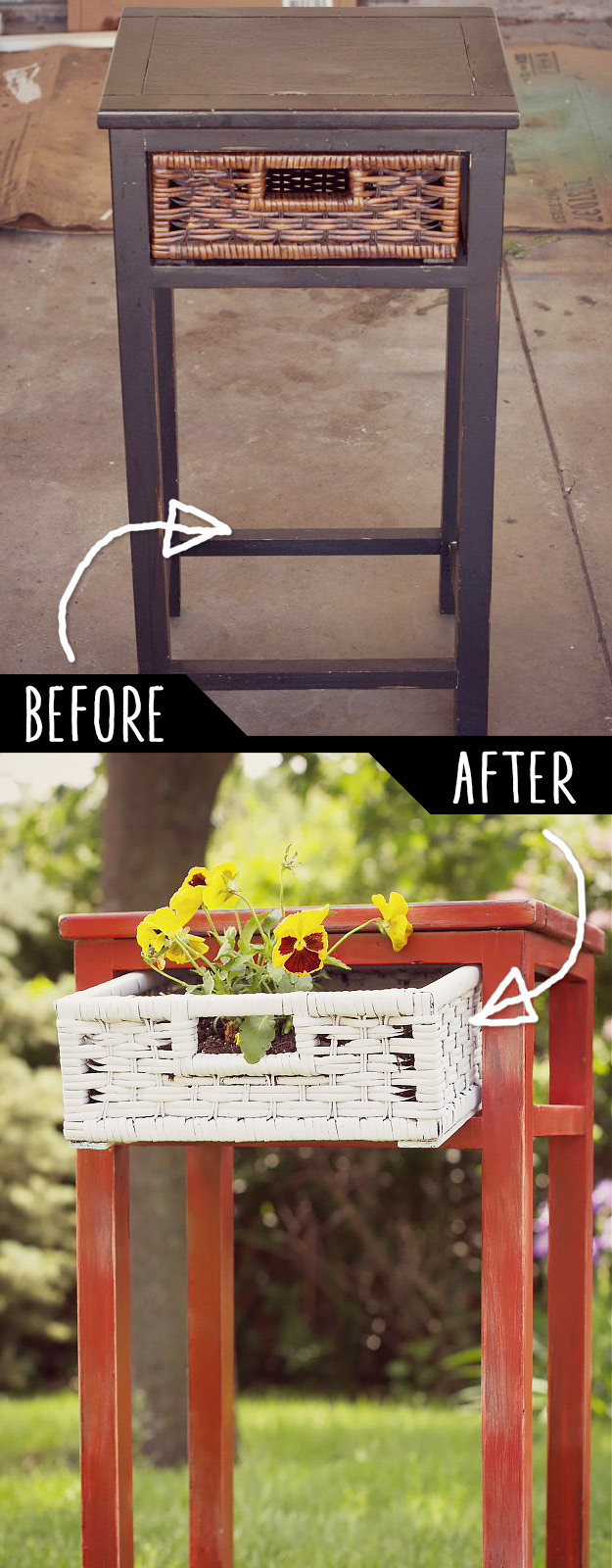 Upcycle Side Table Into Planter