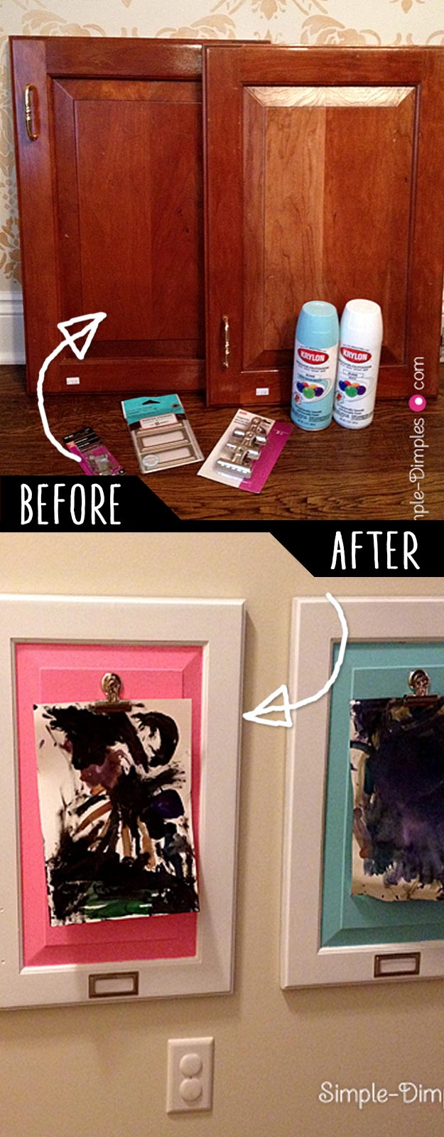 Cool DIY Ideas | Artwork Display Boards For Children Using Cabinet Doors