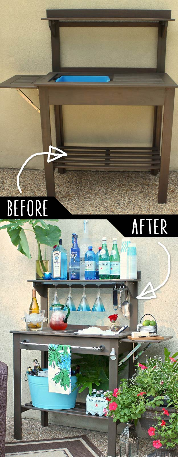 A Potting Bench Turned Into Outdoor Bar