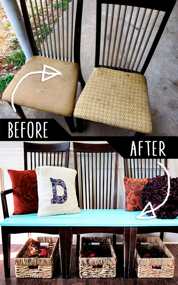 Old Kitchen Chairs Into A Bench