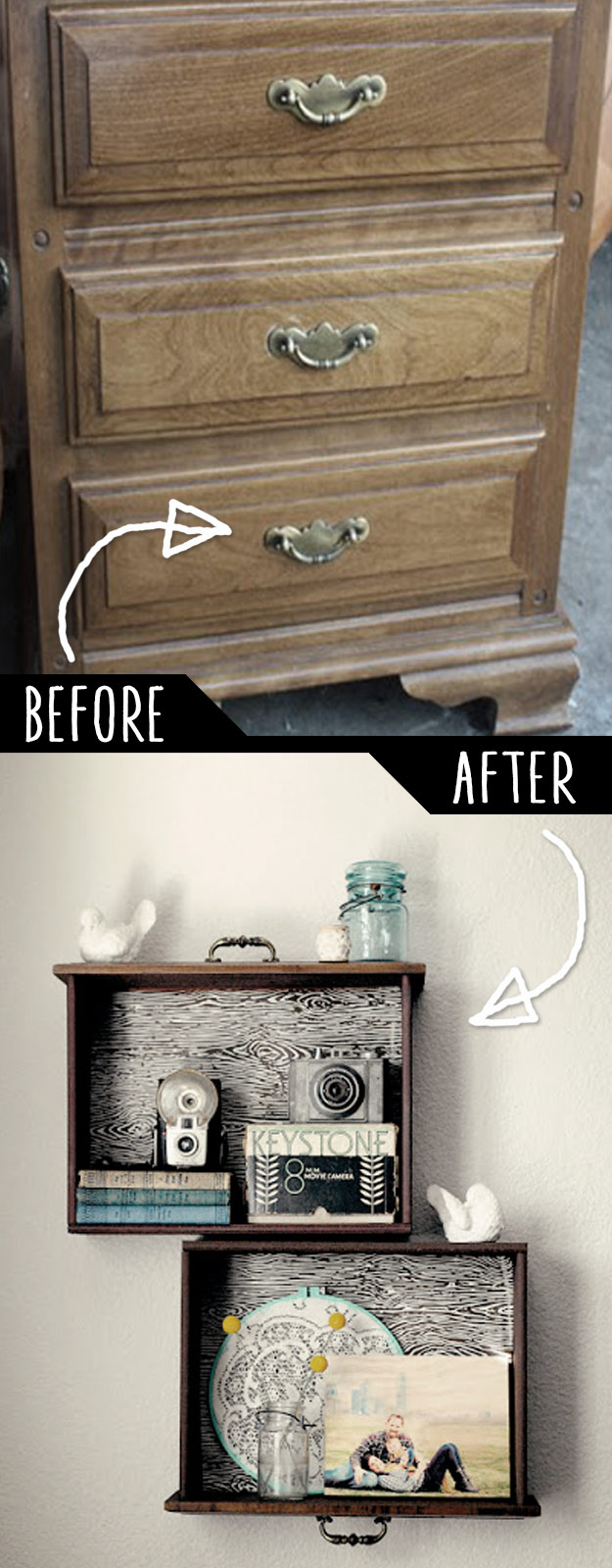 DIY Drawer Shelves Into Wall Decoration