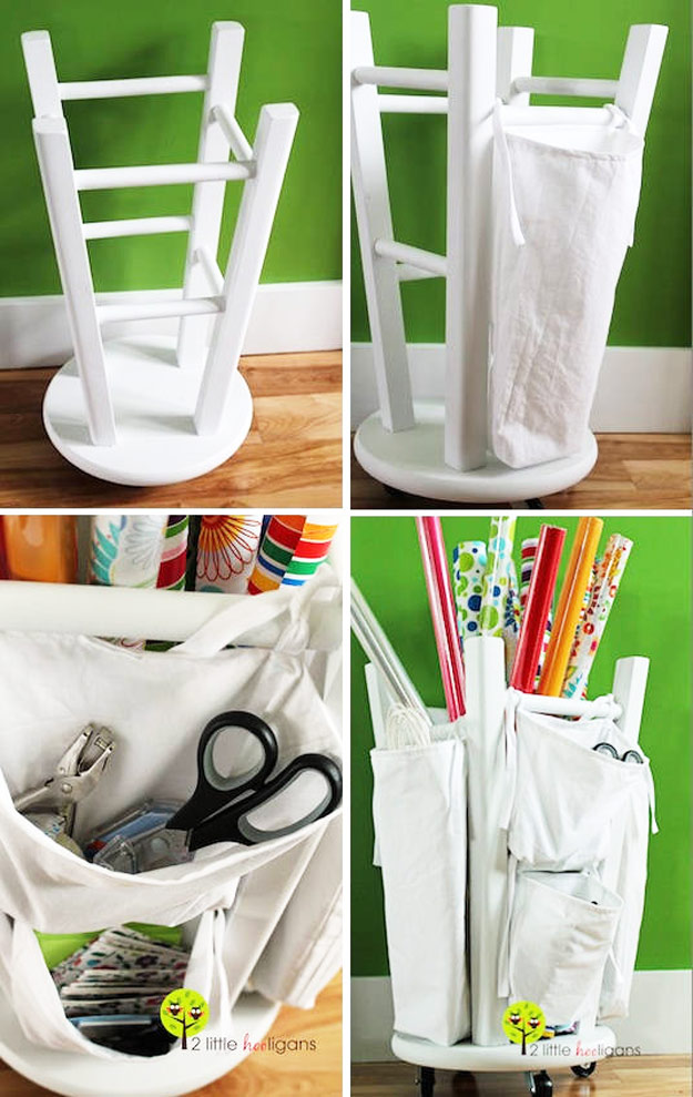 Wooden Stool Into A Tool And Craft Organizer