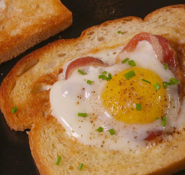 Bacon Heart In Egg